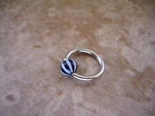 """Beach Ball Stripe Captive Bead Ring 16g 3/8"""" Lip Ear Tragus Cartilage Black"""