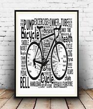 Bicicleta Ciclismo 4: términos y palabras escrita en cartel, Pared Arte.