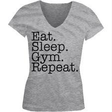 Eat Sleep Gym Repeat Train Hard Life Workout Lift Cardio Juniors V-Neck T-Shirt