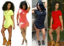 New Sexy Blue Red Orange Yellow Clubwear Party Casual Mini T-shirt Dress S M L