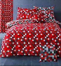 Pixel Squares Bedding Set Duvet Cover Pillowcases Modern Check Red Grey Reverse