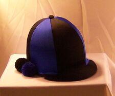 RIDING HAT COVER - BLACK & ROYAL BLUE