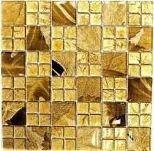 Glasmosaik GOLD BLATTOPTIK braun Fliesenspiegel BAD Küche Luxusmosaik 88-8DSG