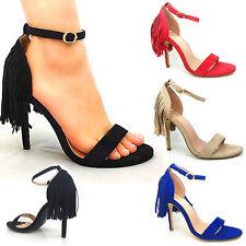 Señoras MIRADA Borlas Gamuza Sandalias Kelsi Mujeres Tacón Alto Puntera Abierta Zapatos Fiesta Nuevo