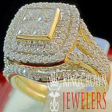 10K Yellow Gold Silver 2 Piece Bridal Rings Wedding Engagement Band Simu Diamond