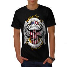 Cabeza del cráneo BIKER cara EE. UU. hombres Camiseta Nuevo | wellcoda