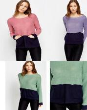 Womens Colour Block Knitted Jumper Knitwear 8, 10, 12, 14, 16