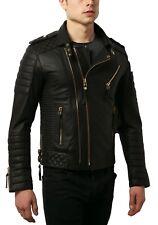 Leather Jacket for Men Black Biker Motorcycle Genuine Lambskin Size S M L XL XXL