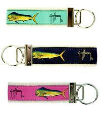 GUY HARVEY Bull Dolphin MAHI MAHI Key Chain Ring Holder Green Pink Navy