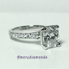 3.71 ct egl F VS2 cushion round natural diamond engagement ring platinum size 5