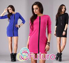 Unico & Trendy Abito da donna manica 3/4 tunica girocollo taglie: 8-14 fa280