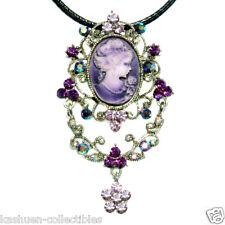 HUGE w Swarovski Crystal Purple CAMEO filigree Queen Pendant Necklace PIN Brooch
