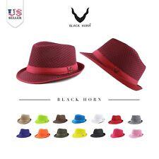 Fedora Hat - Black Horn Light Weight Classic Soft Summer Cool Mesh Fedora