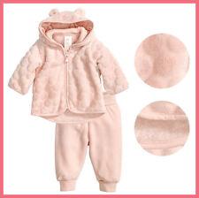H&M Baby Girl Pink dotted velboa Hooded Jacket microfleece Pants 2pc Set