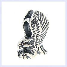925 Sterling Silver Flying Soaring Eagle Bird Bead for European Charm Bracelet