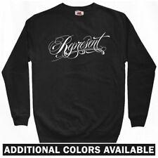 Represent Sweatshirt Crewneck - Rap Hip-Hop Script Typography Classic  Men S-3XL