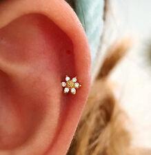 CZ Mini Sunflower cartilage earring, small tragus earring, dainty flower barbell