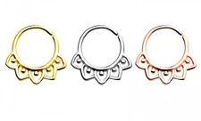 Tribal Leaf Bendable Septum Cartilage Ear Nose Hoop Ring 16g Steel Gold Rose #CA