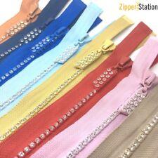 Diamantes De Imitación Cremallera, extremo abierto. DIENTES De Plástico Grueso Cremallera - 12 Colores