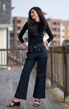 LONG WIDE-LEG DENIM PANTS | WOMEN | POCKETS | WIDE LEG | DARK JEANS | H01