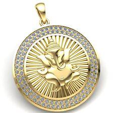 1.5carat Round Cut Diamond Ladies Ganesha Circle Religious Pendant 10K Gold