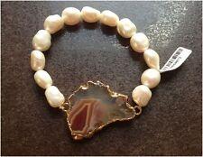 Armband mit Perlen und Naturstein Damen Arband Naturstein Luxus Armband Neuware