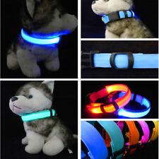 New Nylon Pets Dog Collars LED Lighting Glow Cat Collar Necklace Safety Flashing