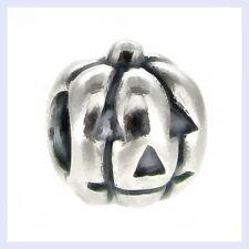 Sterling Silver Jack-O-Lantern Pumpkin Halloween Bead f/ European Charm Bracelet