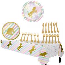 Cute Iridescent UNICORN Theme Birthday Party Tableware Plates Tablecloth Decor Z