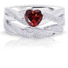 Infinity Celtic Garnet Red Heart Engagement Wedding Sterling Silver Ring Set