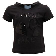 3856T maglia bimba LANVIN cotone nero paillettes t-shirt kid
