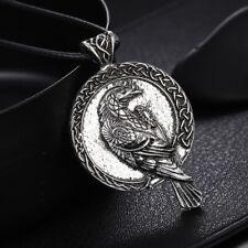 Nordic Necklace Viking Raven Pendant Black Bird Crow Women Men Jewelry GiftTE 2Y