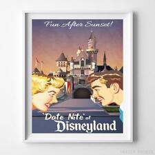Disneyland Print Date Nite Attraction Disney Art Wall Art Decor UNFRAMED
