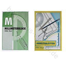 Block Millimeterpapier Arbeitsblätter technisches Zeichnen