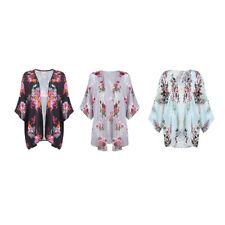 Women Floral Loose Kimono Cardigan Boho Chiffon Coat Jacket Blouse Z9X3