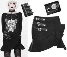 Jupe asymétrique jeans gothique punk lolita kawaï volants sangles mode Punkrave