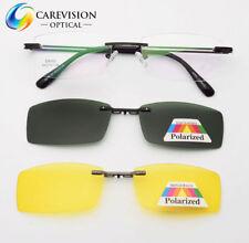 2pcs Polarized Magnetic Clip on Sunglasses Eyeglasses Frames Night Driving RX