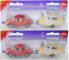 Siku Super 1629 VW New Beetle 2.0 mit Wohnanhänger Knaus Tabbert, ca. 1:55