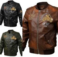 Men's Leather Flight bomer Jacket Zipper Stand Collar Baseball Coat Motorcycle
