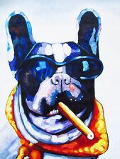 Big Mafia Dog cigar happy Street Art Graffiti Painting Print Canvas large