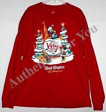 Disney 2015 MVMCP Mickey Very Merry Christmas Party Red Mens Long T-Shirt S-3XL