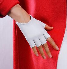 Real Leather Fingerless Short Gloves White Genuine Sheepskin Driving Half Finger