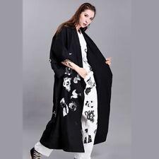 Women Long Coats Cardigan Jackets Cotton Asian Ukiyoe Print Harajuku Fashion