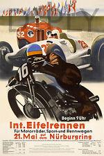 PLAQUE ALU DECO AFFICHE MOTO INT EIFEIRENNEN NURBURGRING 1935 MOTORCYCLE