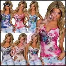 Sexy Donna Floreale Pizzo Top Donna Casual Estate Top una taglia 6,8,10,12 UK