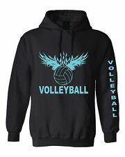 Volleyball hoodie baby blue design  Black Hooded Sweatshirt