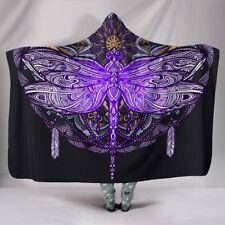 Purple Black Dragonfly Mandala Hooded Sherpa And Microfiber Blanket With Hood