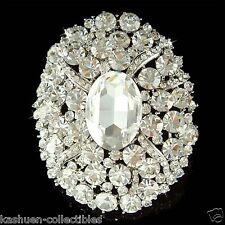 """3"""" Huge w Swarovski Crystal ~Oval Sash Bouquet Bridal Wedding Dress Pin Brooch"""