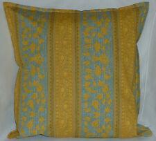 "Cushion Cover mustard retro stripe print 100% cotton zipped 18"" & 16"" - FREE p&p"