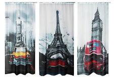 City Voile Dekoschal bedruckt ca. 140x245 Vorhang halbtransparent Gardine U-Band